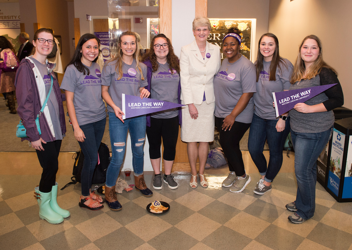 Interim Chancellor Alison Morrison-Shetlar with Scholarship Récipients at the Lead the Way Campaign Launch