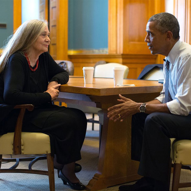 Photograph of Marilynne Robinson and former President Barack Obama