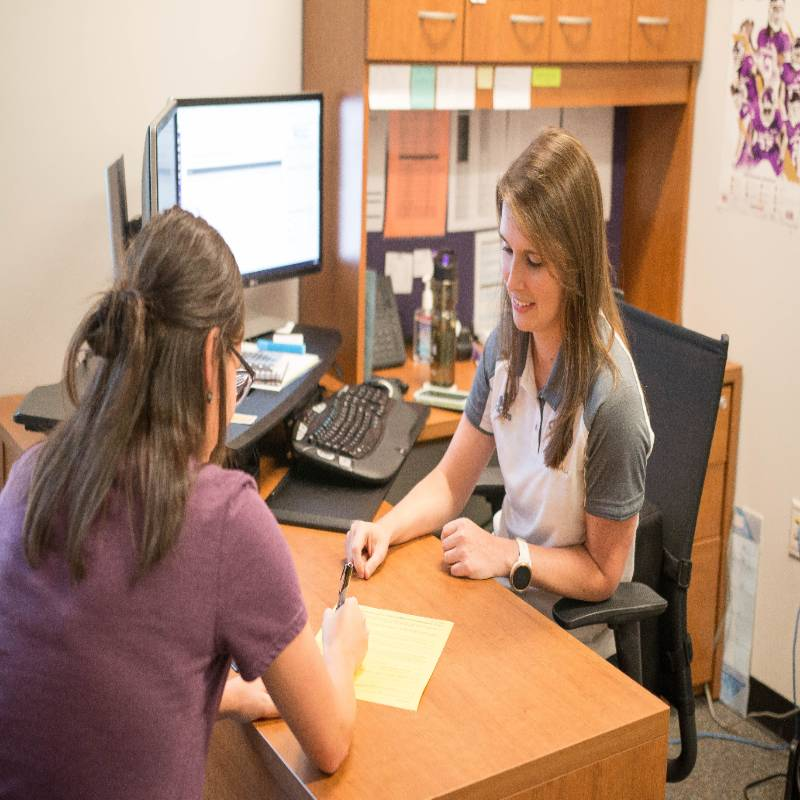 An advisor working with students