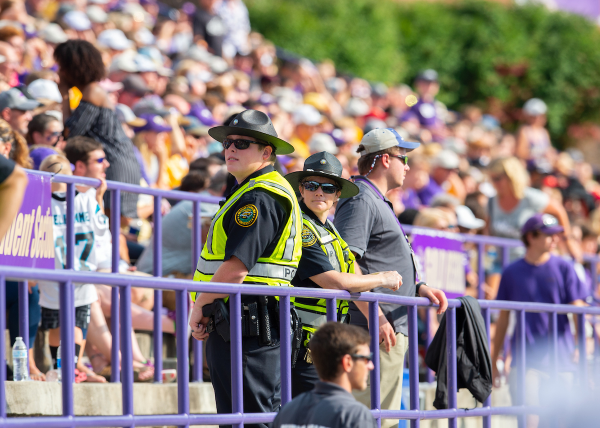 University Police officers at a football game